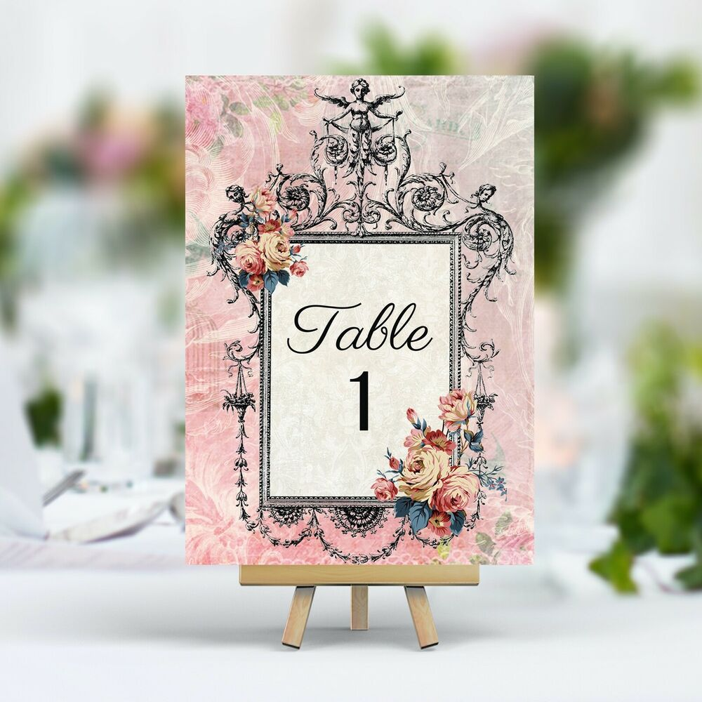 vintage style wedding table numbers names cards shabby chic antique frame pink ebay. Black Bedroom Furniture Sets. Home Design Ideas