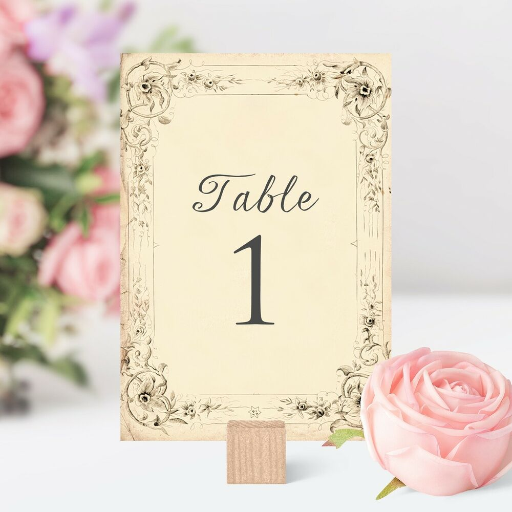 Antique style wedding table numbers names cards shabby for Lampe style shabby chic
