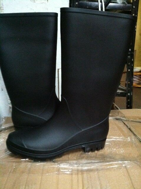 Brand New Women Tall Black Rain Boots Waterproof Sizes 5