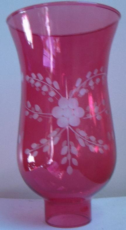 Cranberry Cut Flower Glass Hurricane Lamp Shade Candle