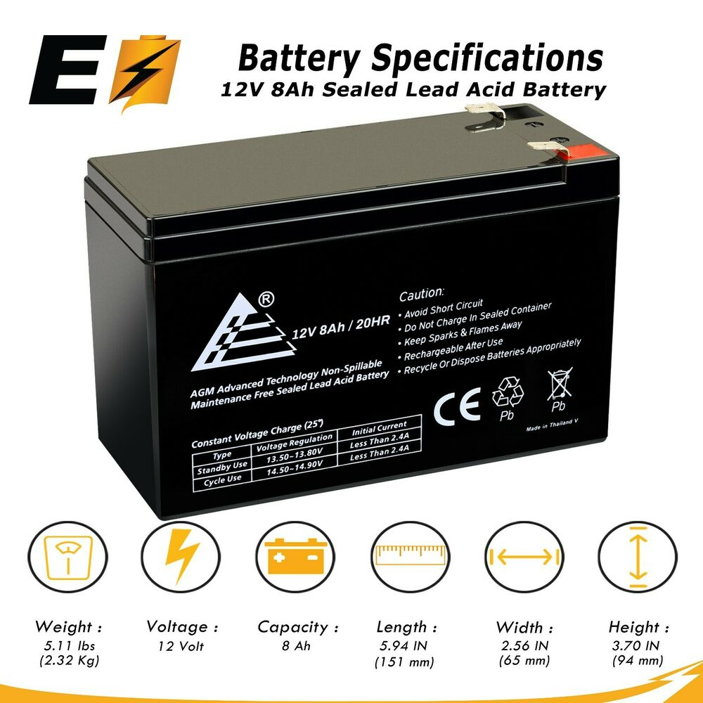12v 8ah rechargeable sealed lead battery replaces gt12080 hg ebay. Black Bedroom Furniture Sets. Home Design Ideas