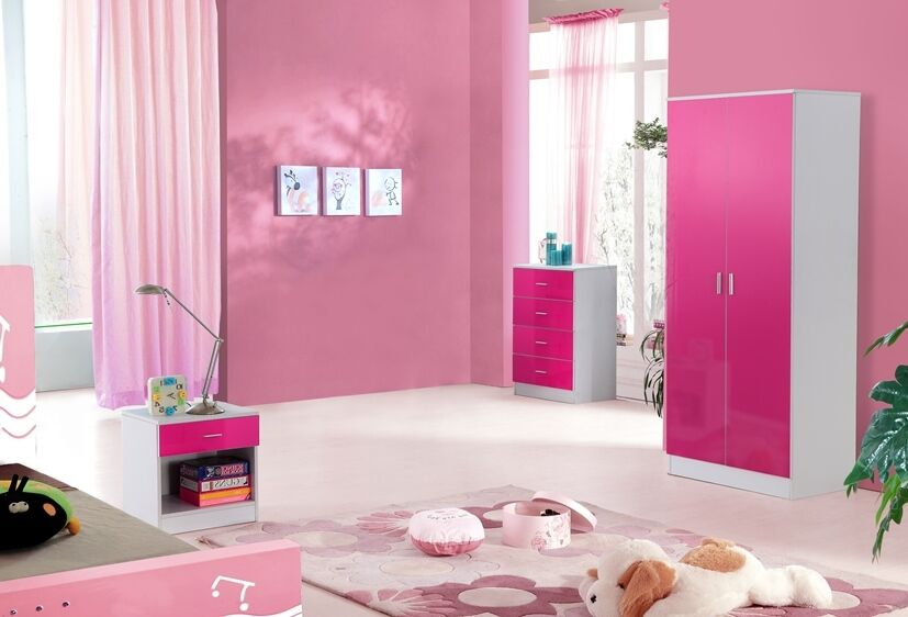 high gloss pink and white trio bedroom set ebay