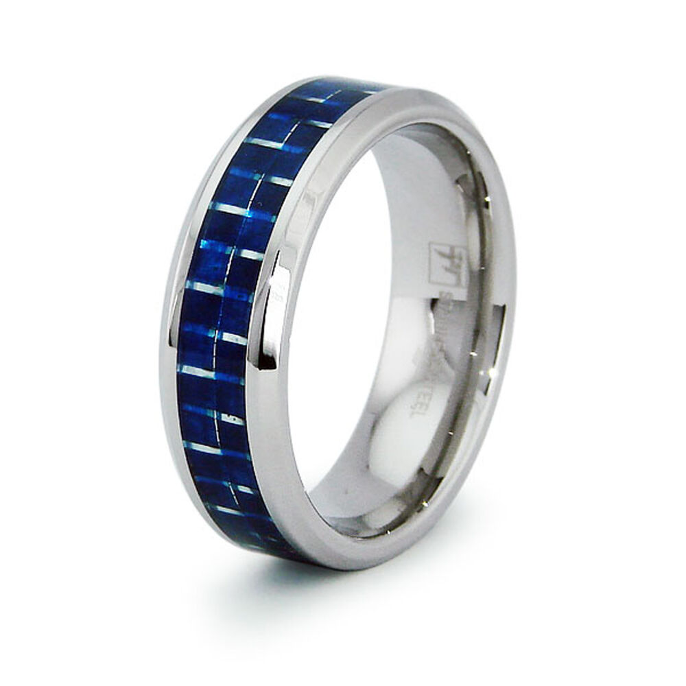 Wedding Band Stainless Steel 8mm: Stainless Steel Blue Carbon Fiber Inlay Wedding Band 8MM