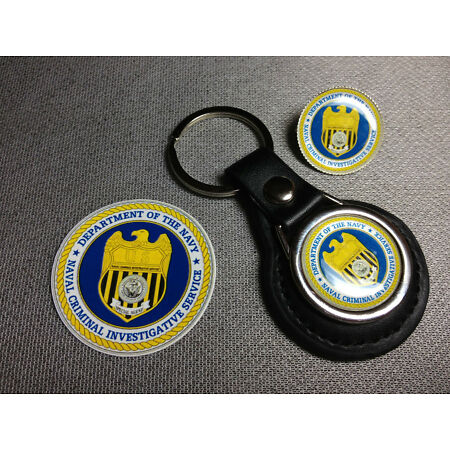 img-U.S. NAVY N.C.I.S.LEATHER KEY RINGS & BADGES + FREE NCIS STICKERS