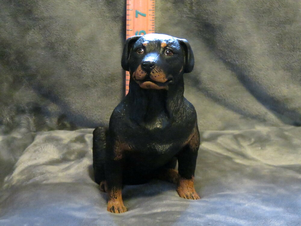 rottweiler plaster dog statue hand cast and painted by t c. Black Bedroom Furniture Sets. Home Design Ideas