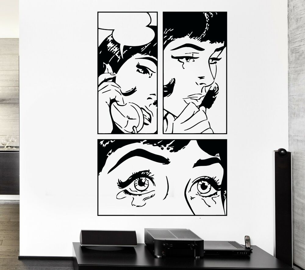 Wall sticker sexy girl woman teen crying cool pop art for Cool wall art for bedroom