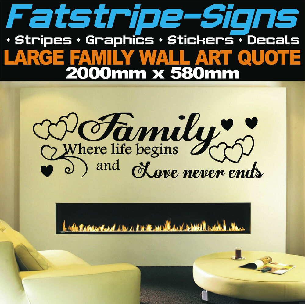 2m large family wall art quote stickers vinyl decals home for Living room quote stickers