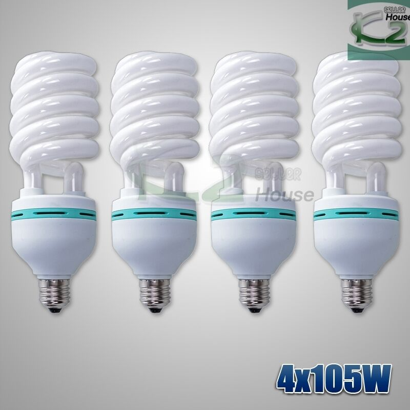 4x105w Compact Fluorescent Light Bulbs Photography Studio Daylight Lighting Lamp Ebay