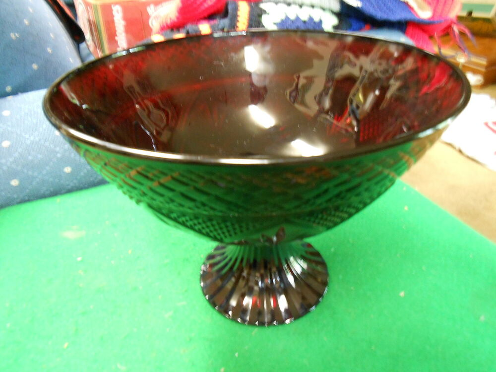 Outstanding ruby red crystal footed centerpiece bowl sale ebay - Footed bowl centerpiece ...