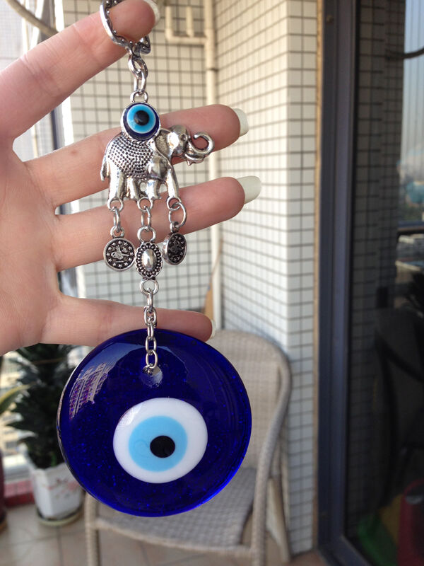 Turkish Evil Eye Amulet Blue Glass Charm Wall Hanging Home