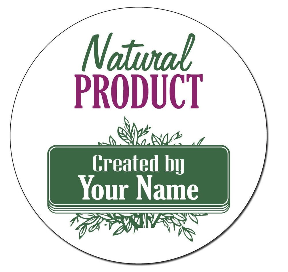 """24 Personalized 1.6"""" Round Natural Product Stickers Labels"""