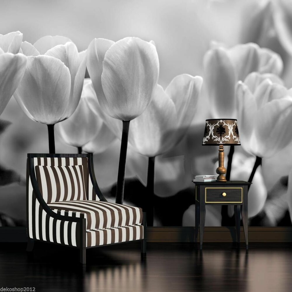fototapete fototapeten tapete tapeten poster schwarz weisse tulpen 3fx287p8 ebay. Black Bedroom Furniture Sets. Home Design Ideas