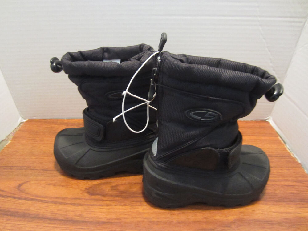 Snow boots toddler little boys black with back zipper size 7 nice