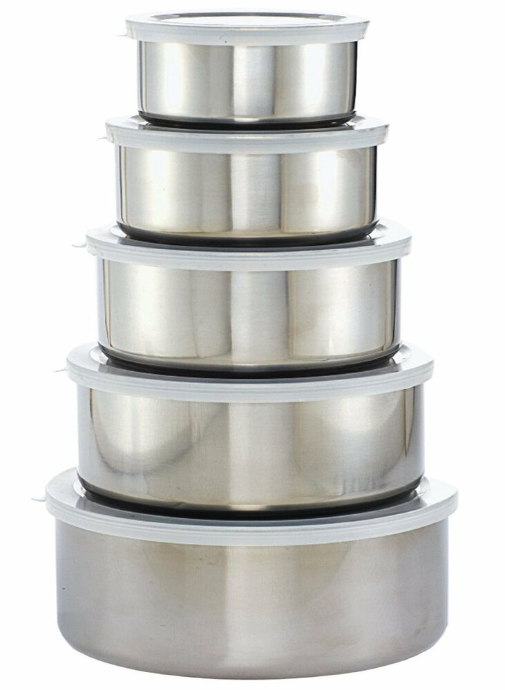 imperial home stainless steel 10 piece mixing bowl set 5 bowls 5 lids ebay. Black Bedroom Furniture Sets. Home Design Ideas