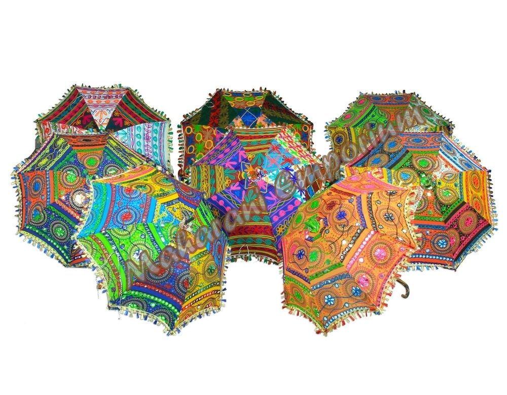 wholesale lot of 5 pc indian embroidered umbrella cotton