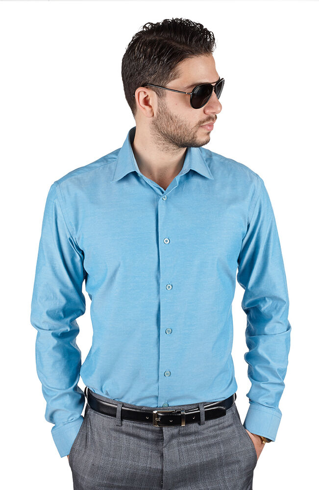 Ocean blue tailored slim fit mens dress shirt wrinkle free for Men s spread collar shirts