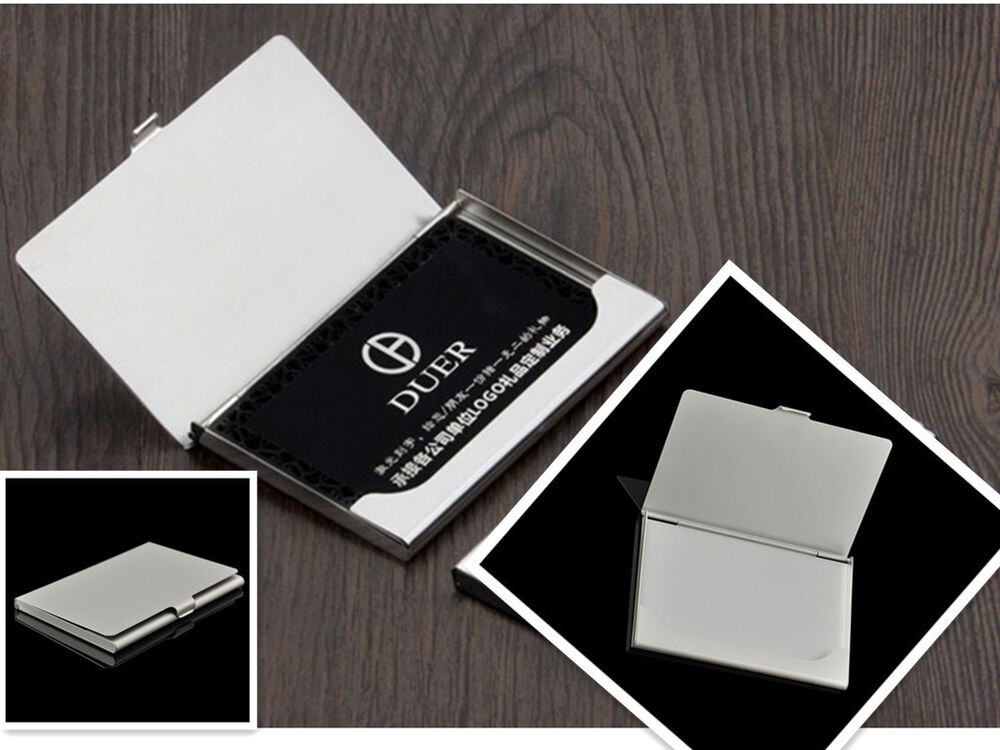 cool silver stainless steel pocket business name credit id