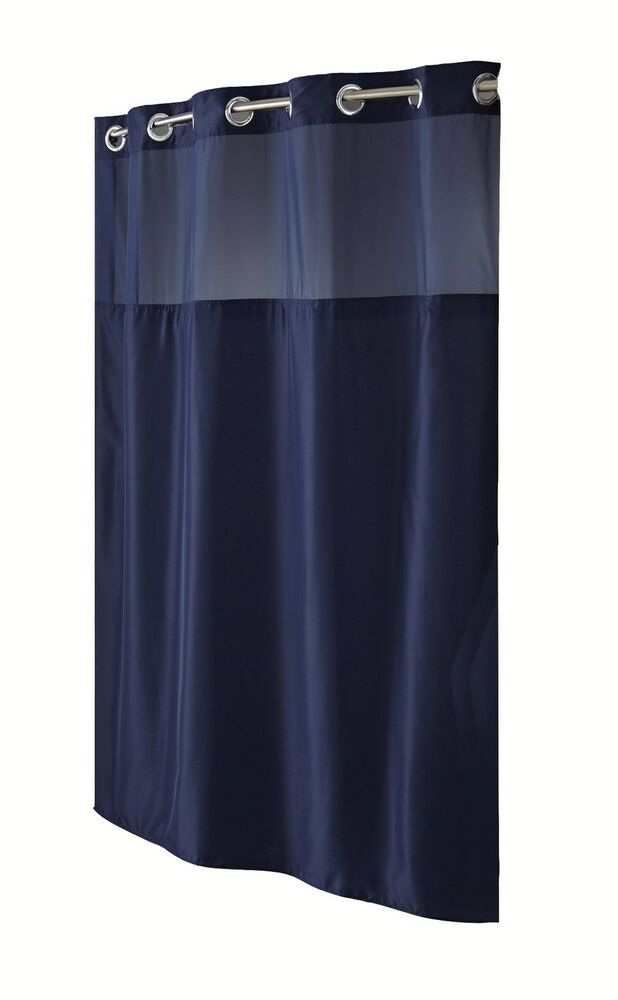 Hookless Fabric Shower Curtain with Built in Liner -Navy Blue | eBay