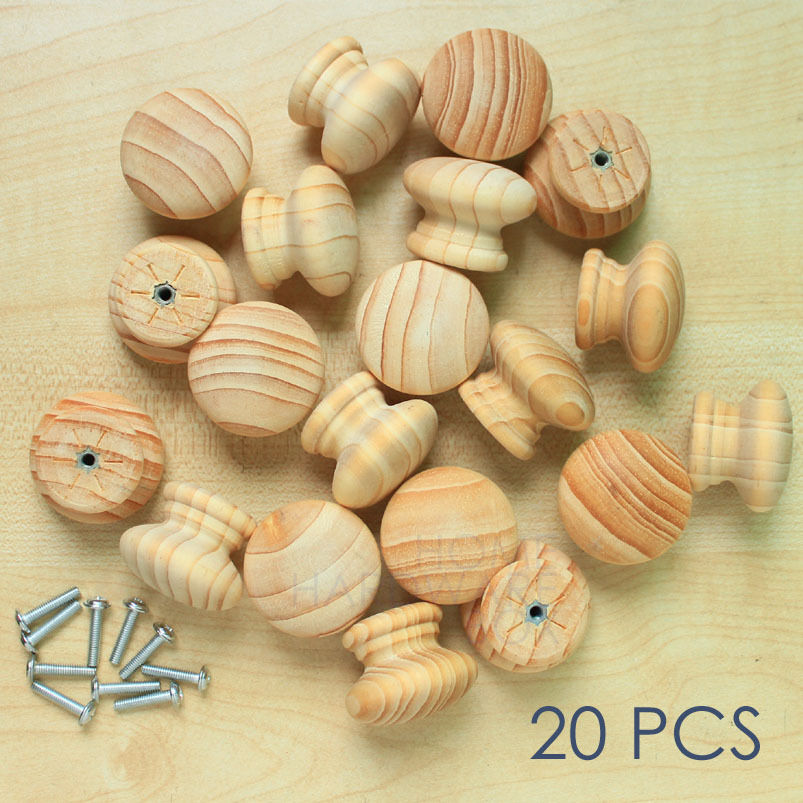 Wooden Drawer Cabinet Knob Pull Unpolished Pine Wood Grain