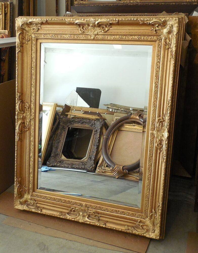 Large solid wood louis xv 42x52 rectangle beveled framed for Large framed mirrors for walls
