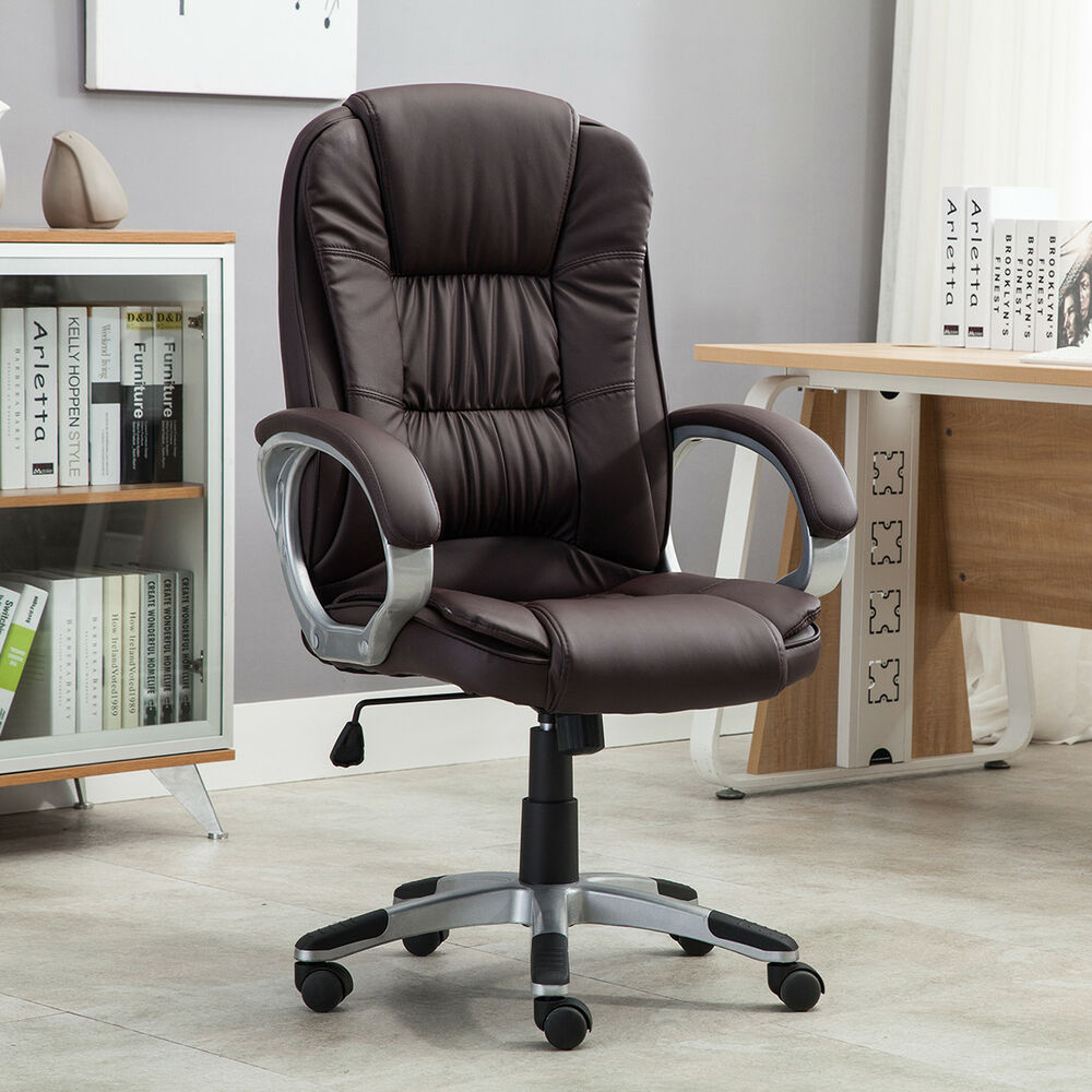 High Brown PU Leather Executive Office Desk Task Computer Boss Luxury Chair N