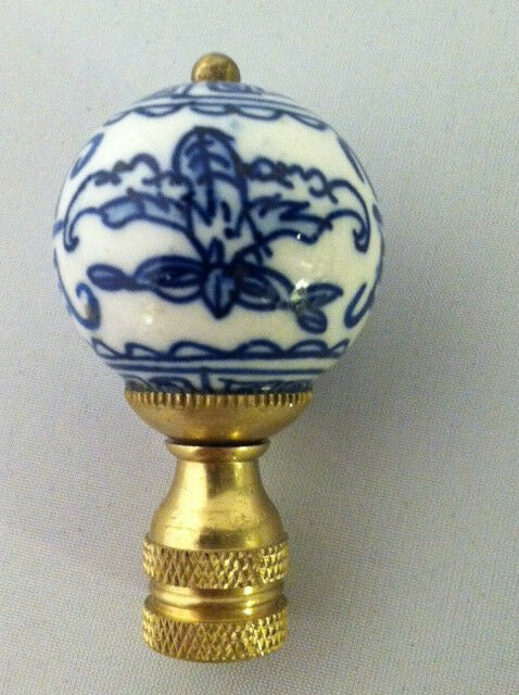 Round Porcelain Finial Blue White China Pattern Lamp Shade