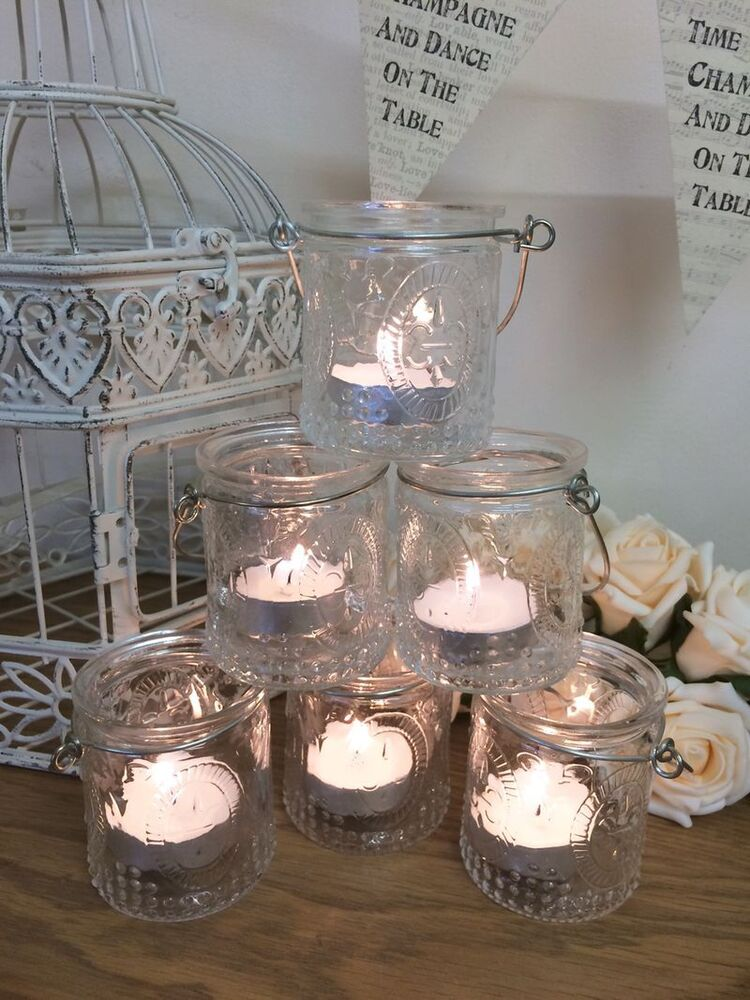 Set of vintage glass tea light candle holders hanging