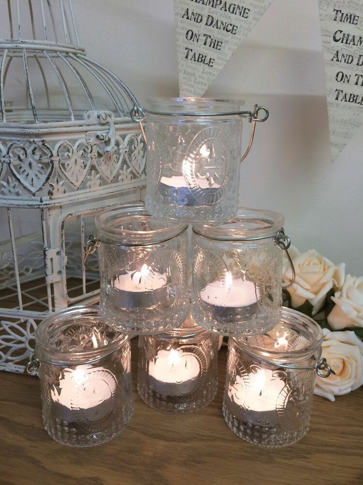 set of 6 vintage glass tea light candle holders hanging jars wedding decoration ebay. Black Bedroom Furniture Sets. Home Design Ideas