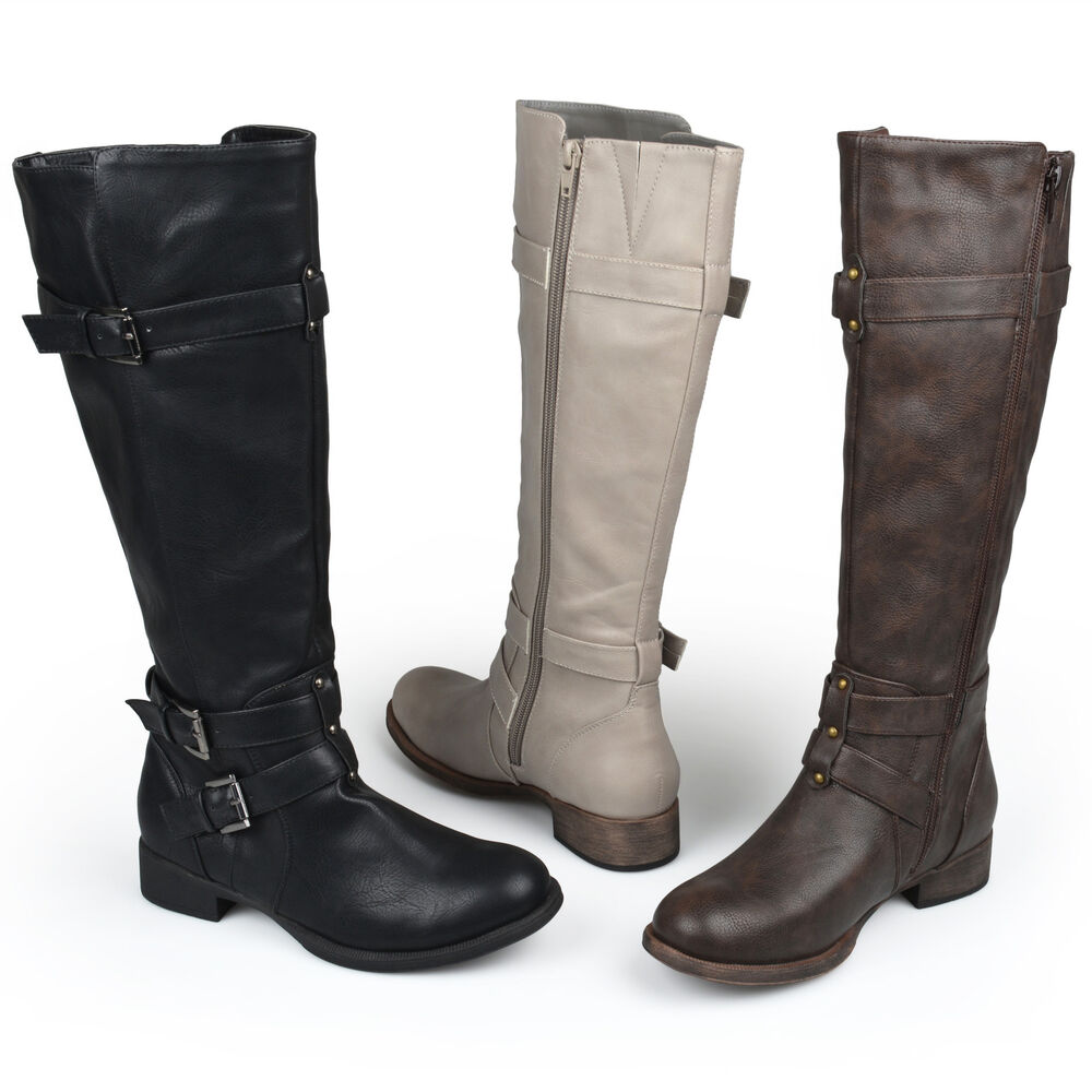 journee collection womens knee high buckle boot ebay