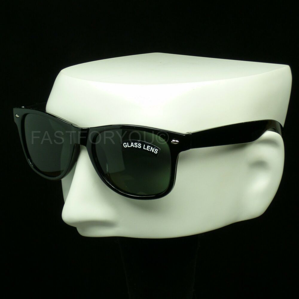 Sunglasses black frame green crystal glass lens retro ...
