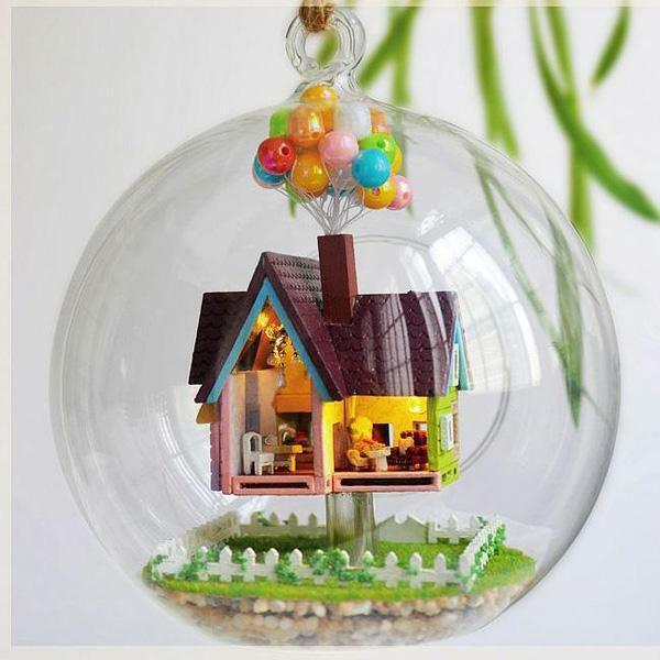 Diy Pixar Disney Up Flying Dollhouse Glass Ball Miniature Craft Doll
