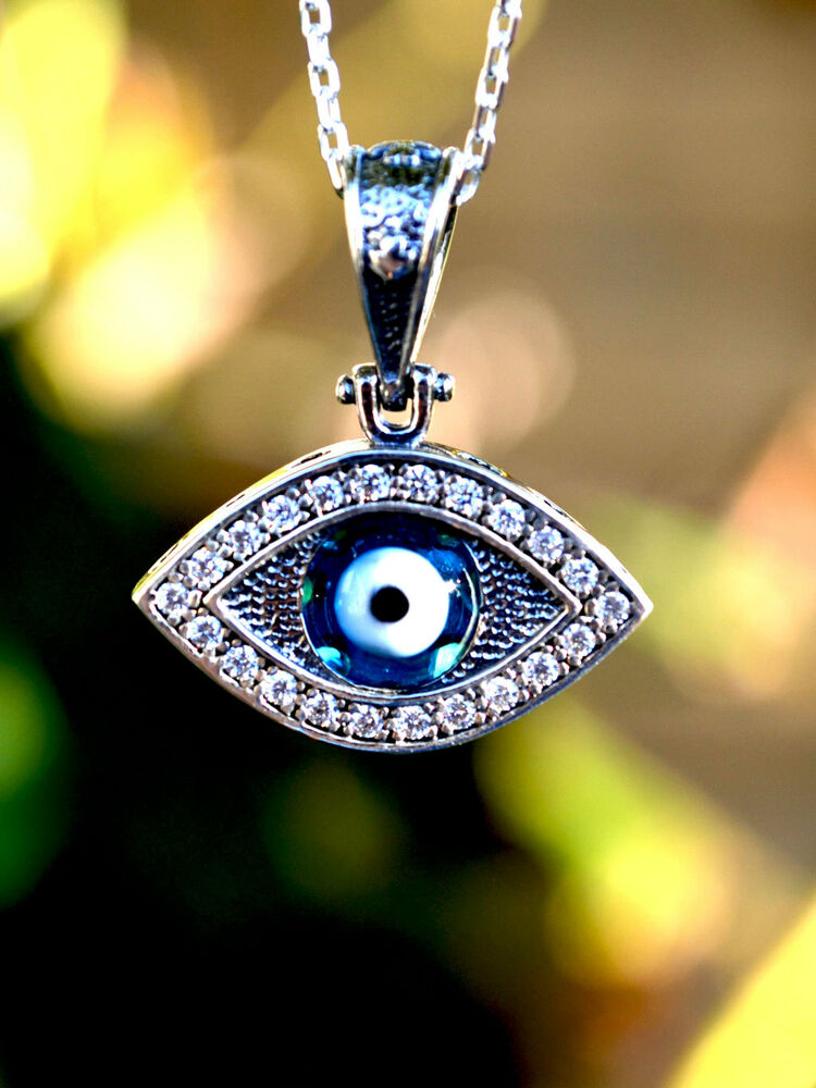 Celebrity Inspired Sterling Silver Evil Eye Necklace Ebay