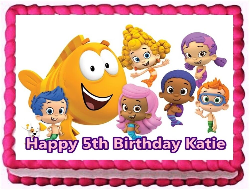 Bubble guppies edible cake topper birthday decorations ebay for How to make edible cake decorations at home