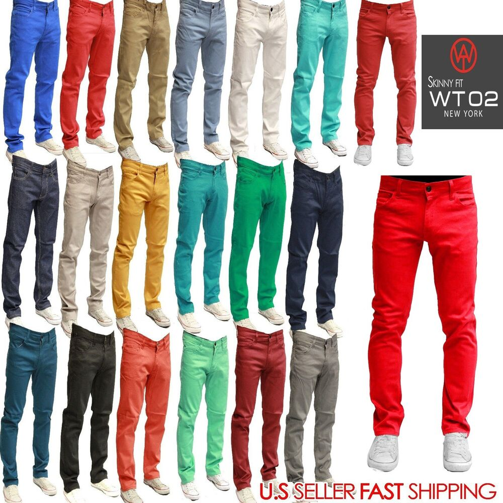 WT02 Mens Jeans Slim Fit Straight Skinny Fit SLIM Trousers Casual Pants 19 color | eBay
