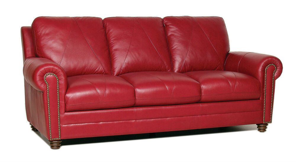 New luke leather weston cherry red sofa only with studs for Sofa with studs
