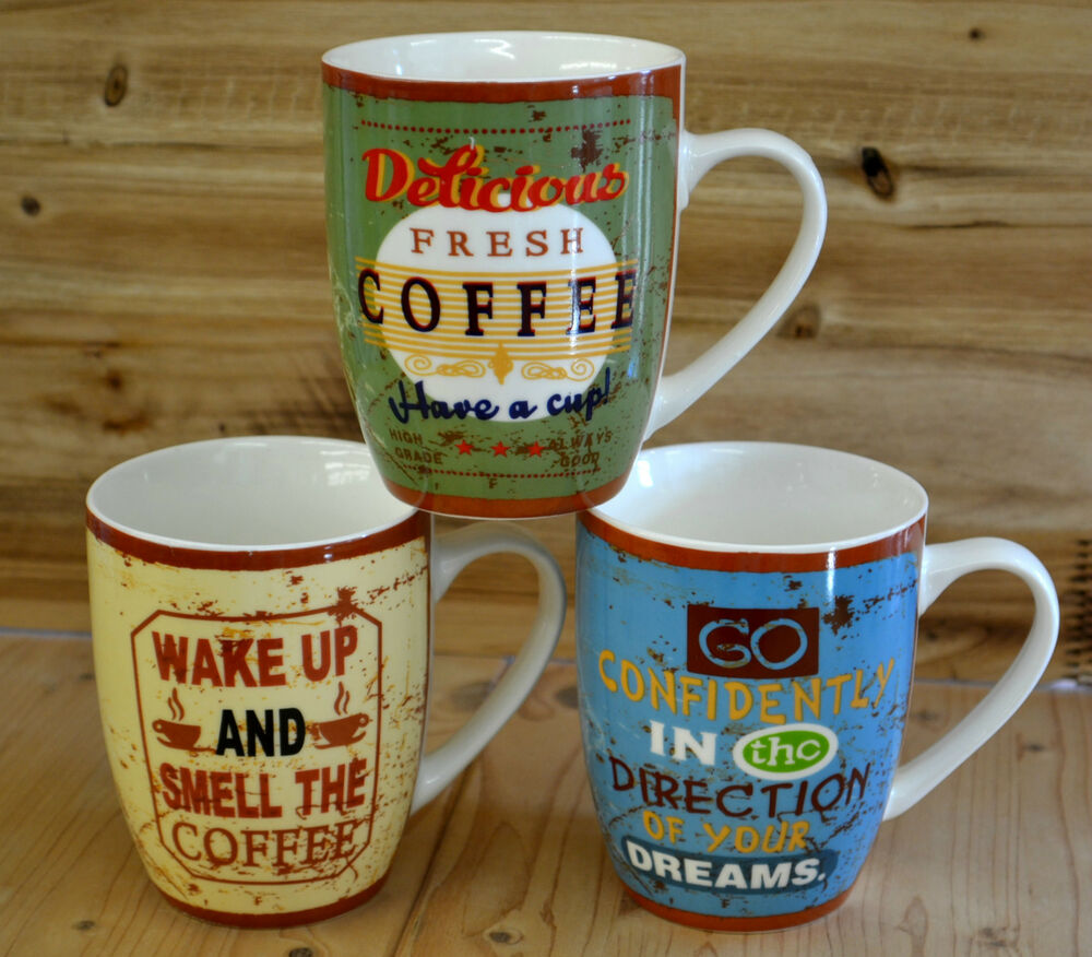 3 er set kaffee cafe coffee tasse becher vintage retro nostalgie tasse mug bgb ebay. Black Bedroom Furniture Sets. Home Design Ideas