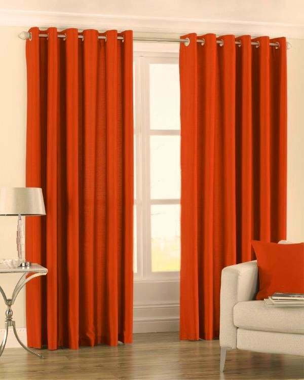 Striking Vivid Burnt Orange Faux Silk Curtains Eyelet Ring