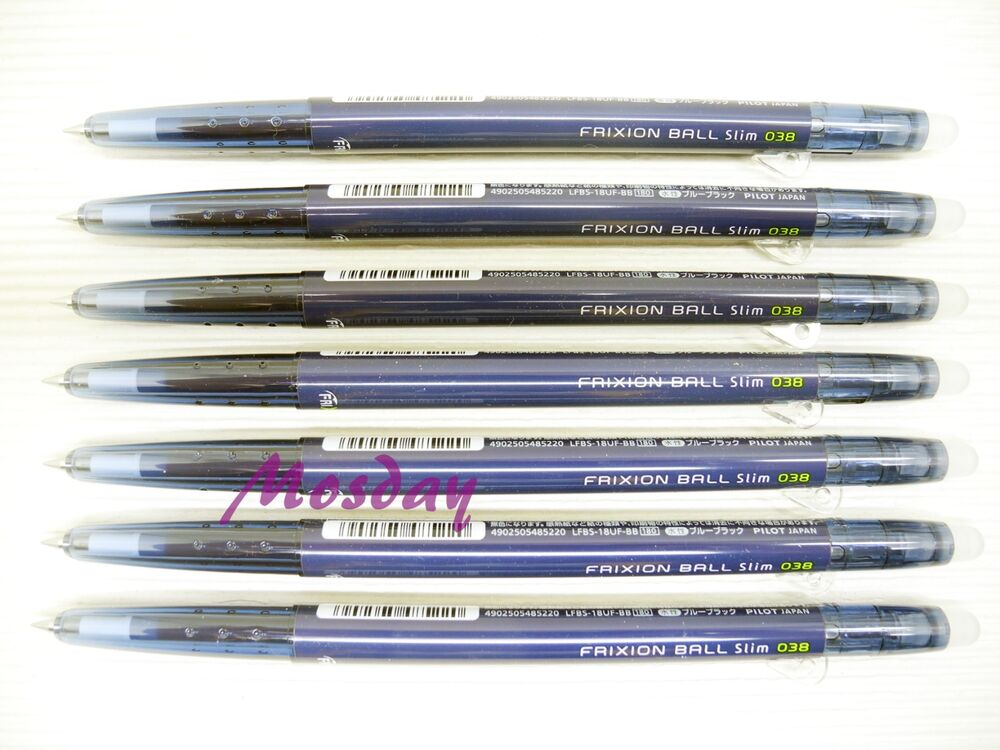 7pcs New Color Pilot Frixion Slim 0 38mm Retractable Roller Ball Pen Blue Black 4573212924014 Ebay