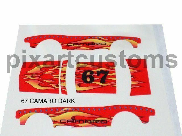 For Hot Wheels 67 Camaro Flaming 1 64 Decal Set White