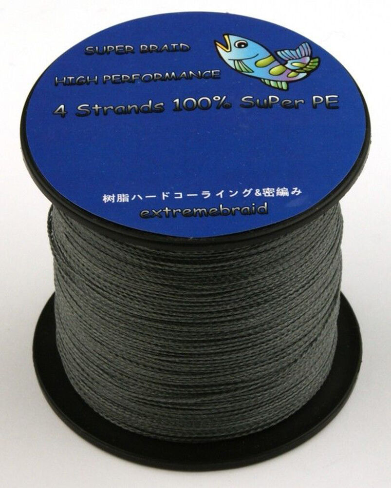 Grey super strong 4strands 100m 300m 500m 1000m braided 6 for Braid fishing line