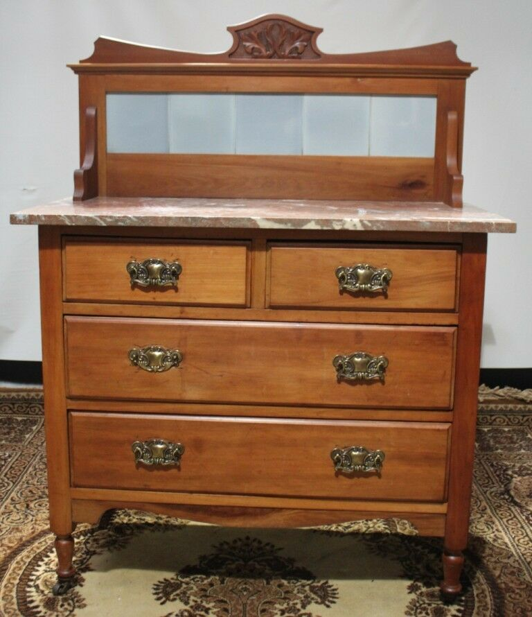 Antique Marble Top Washstand Dressing Chest Of Drawers