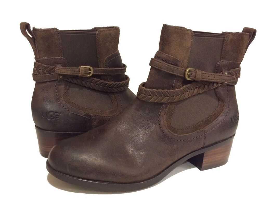 ugg australia krewe ankle boots brown leather women 39 s us 7. Black Bedroom Furniture Sets. Home Design Ideas