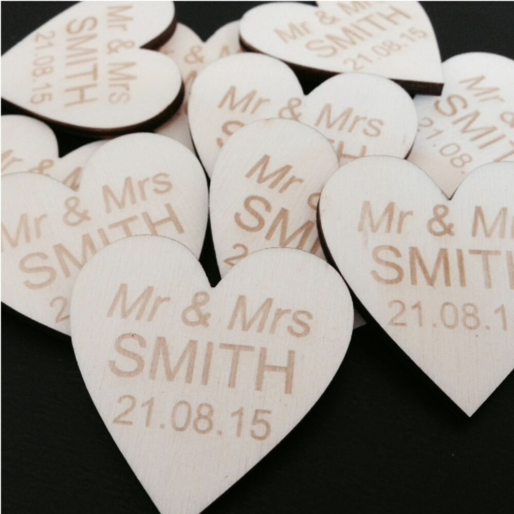 Personalised love heart mr mrs wedding favours table for Wedding table favours