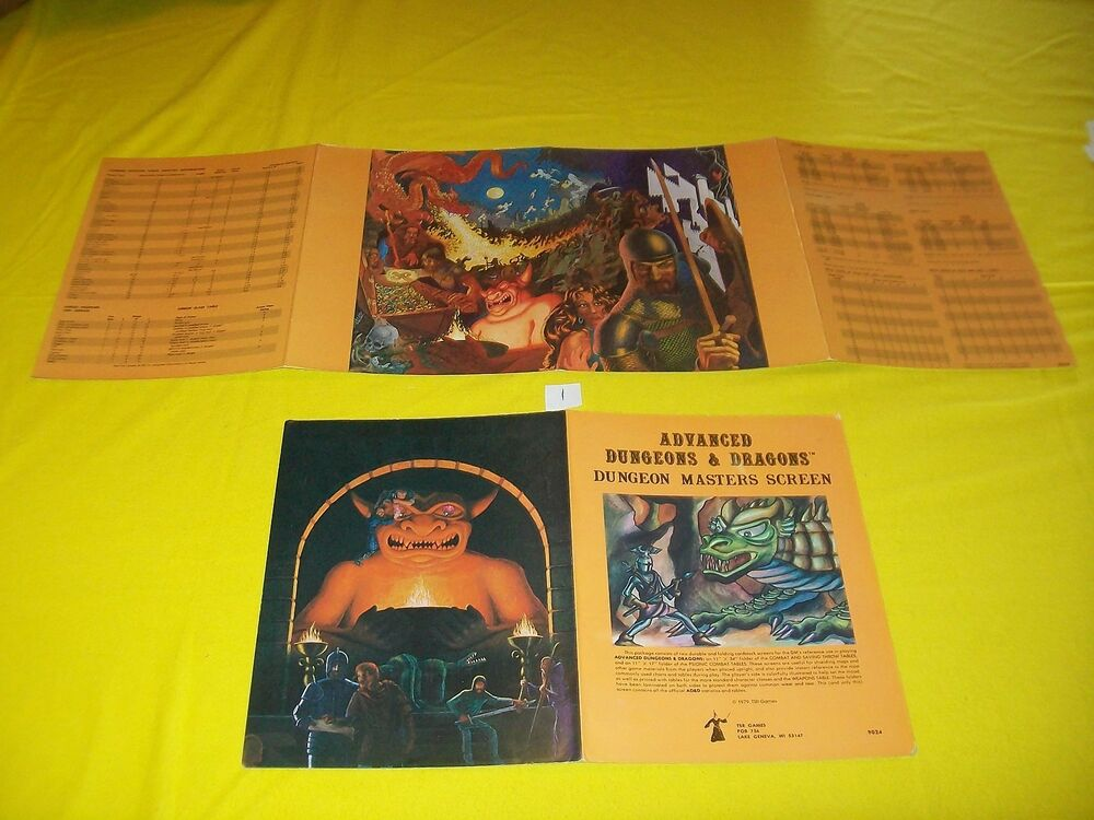 Dungeon Masters Screen Dungeons Dragons Ad D 2 4 Panel RARE 1 2nd