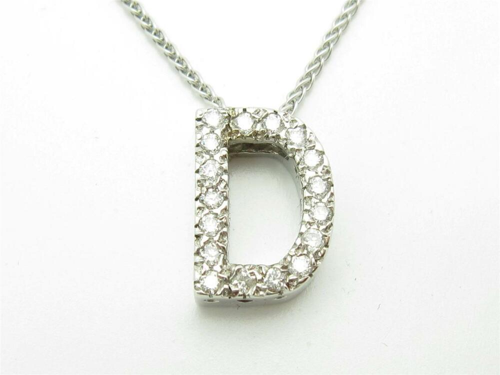 14kt solid white gold genuine white diamond initial d name. Black Bedroom Furniture Sets. Home Design Ideas