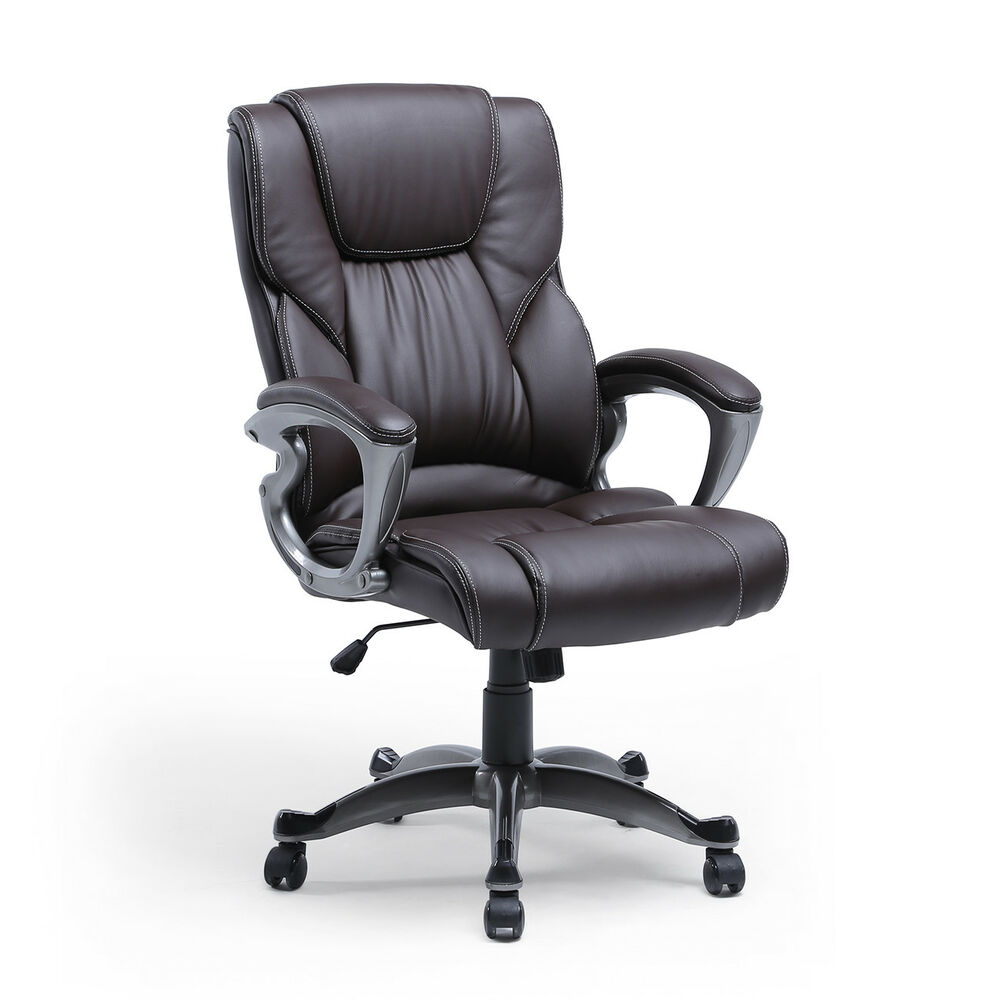 Brown Pu Leather High Back Office Chair Executive Task