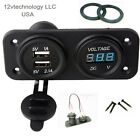 MARINE BOAT RV WATERPROOF DUAL USB SOCKET CHARGER AND BLUE VOLTMETER PANEL