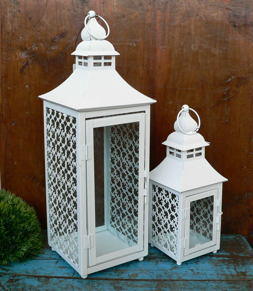 gro e laterne metall wei einzeln oder set orient shabby windlicht 47cm gro neu ebay. Black Bedroom Furniture Sets. Home Design Ideas