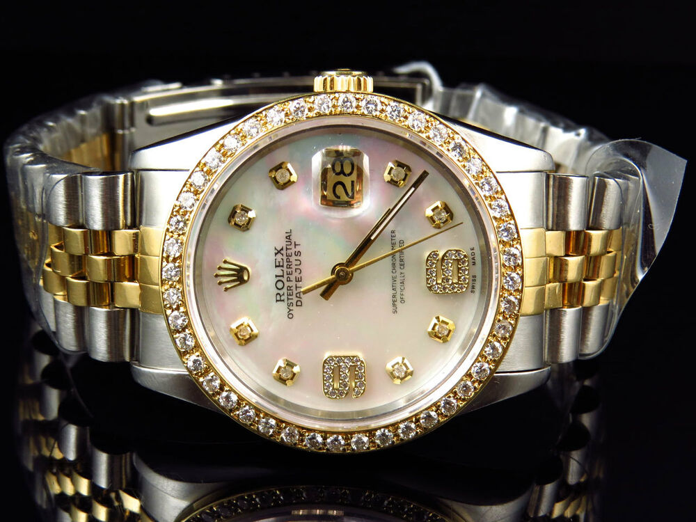 Rolex datejust 2 tone jubilee 18k stainless steel white mop diamond watch 36 mm ebay for Rolex date just 36