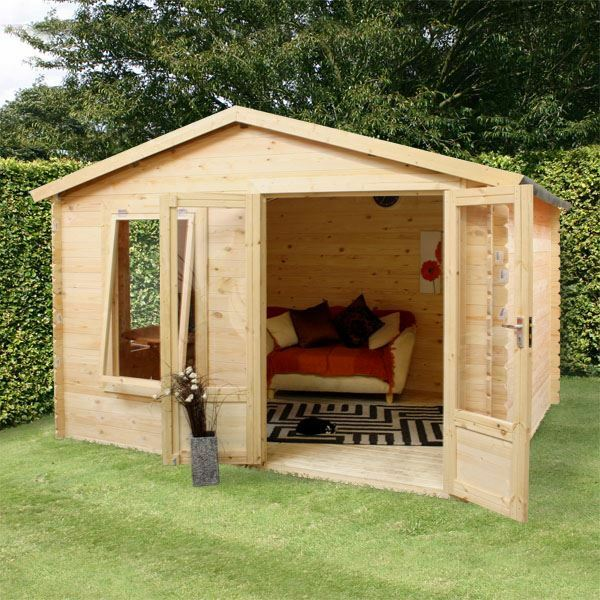 2 6m X 3 3m Wooden Log Cabin 19mm Tongue And Groove